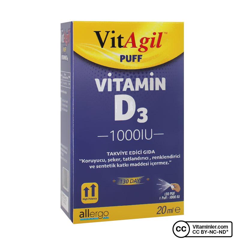 Allergo VitAgil D3 Vitamini 1000 IU 20 mL Sprey