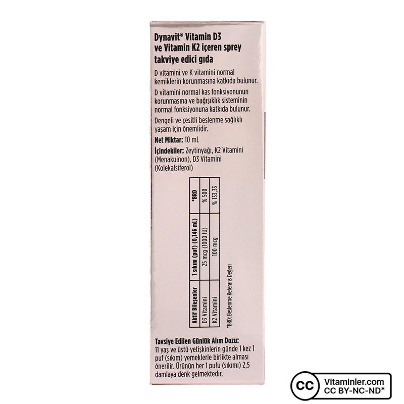 Dynavit Vitamin D3K2 Sprey 10 mL
