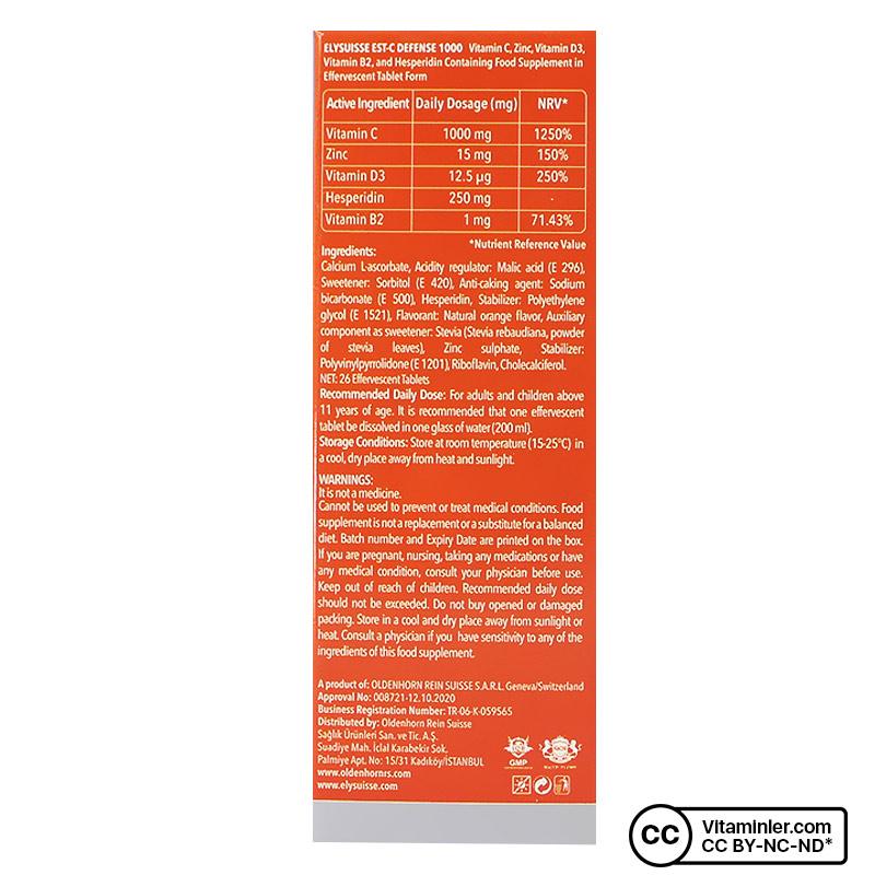 ElySuisse Est-C Defense 1000 C Vitamini 26 Efervesan Tablet