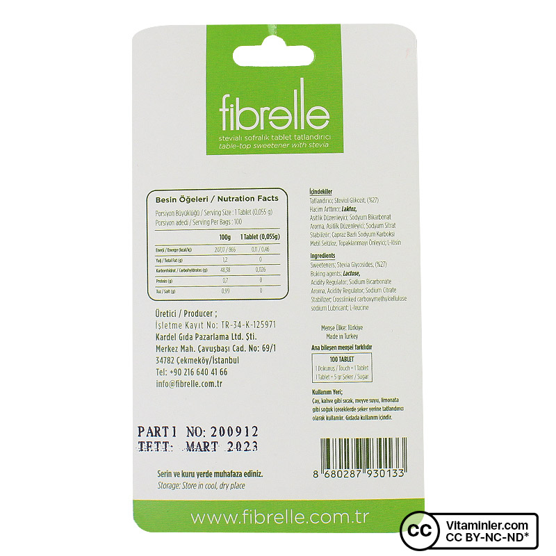 Fibrelle Stevialı Tatlandırıcı 100 Tablet