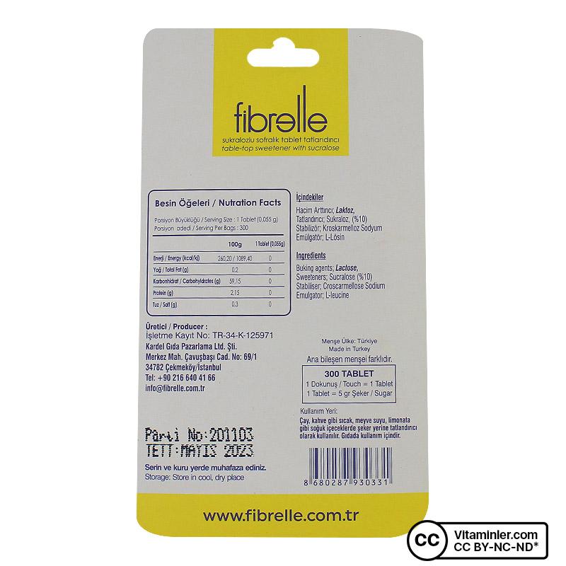 Fibrelle Sukralozlu Tatlandırıcı 300 Tablet