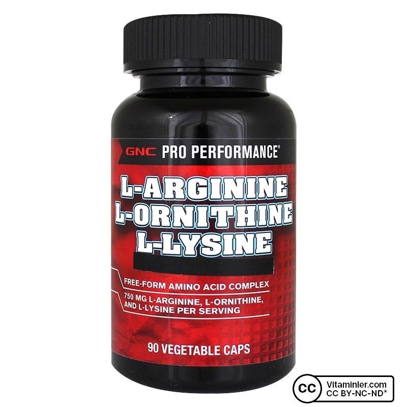 GNC L-Arginine L-Ornithine L-lysine 90 Kapsül