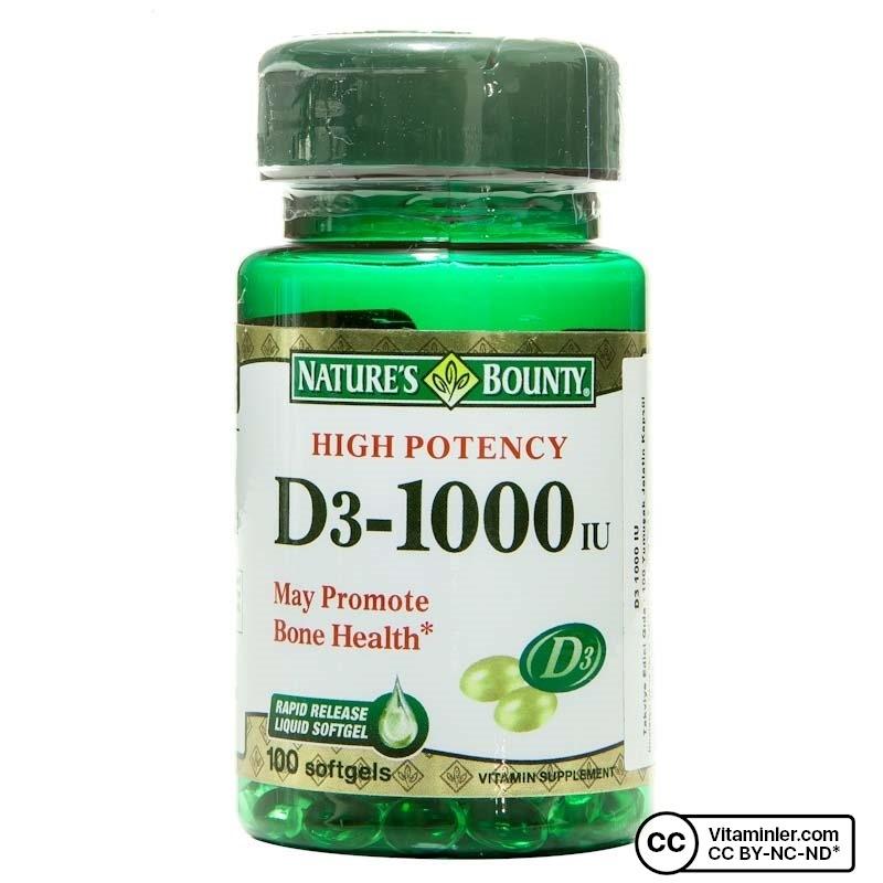 Nature's Bounty Vitamin D3 1000 IU 100 Kapsül