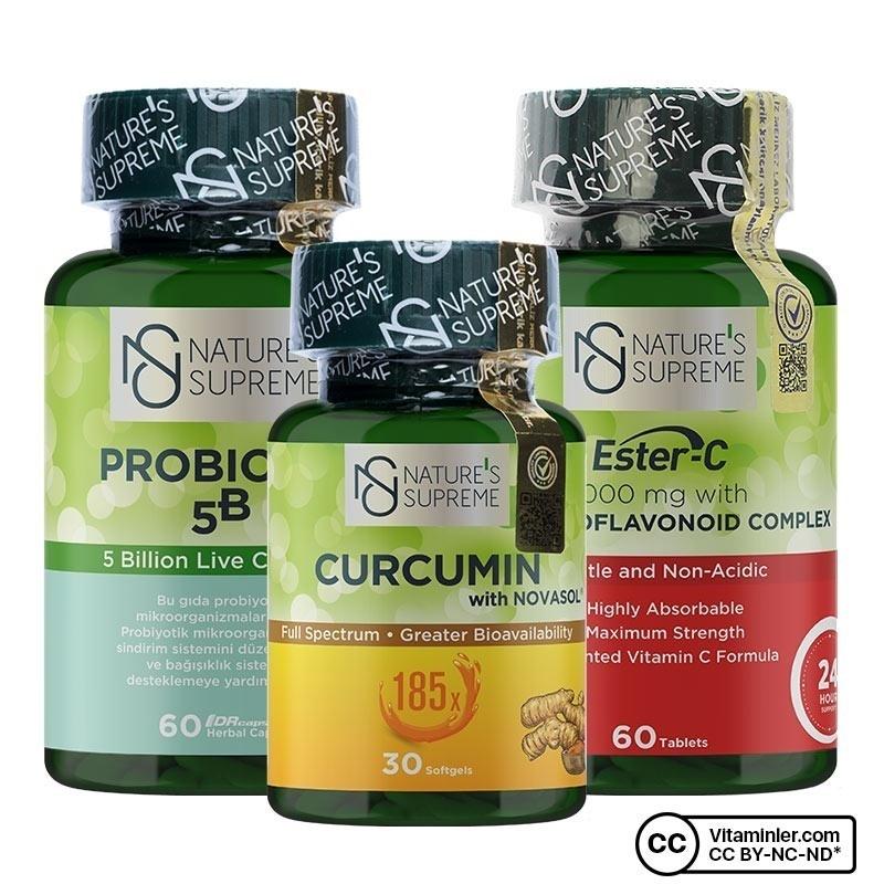 Nature's Supreme Curcumin + Probiyotik + Ester C Kombinasyonu
