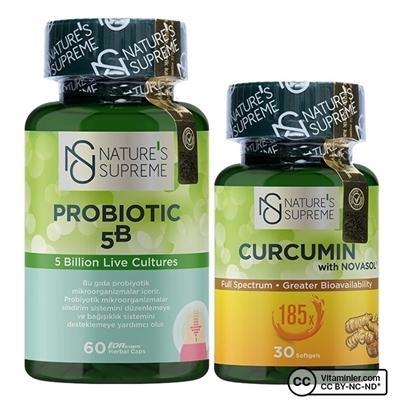 Nature\'s Supreme Curcumin + Probiyotik Kombinasyonu
