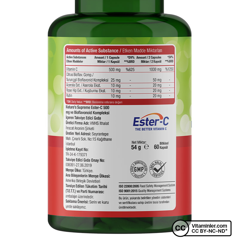 Nature's Supreme Ester-C 500 Mg C Vitamini 60 Kapsül