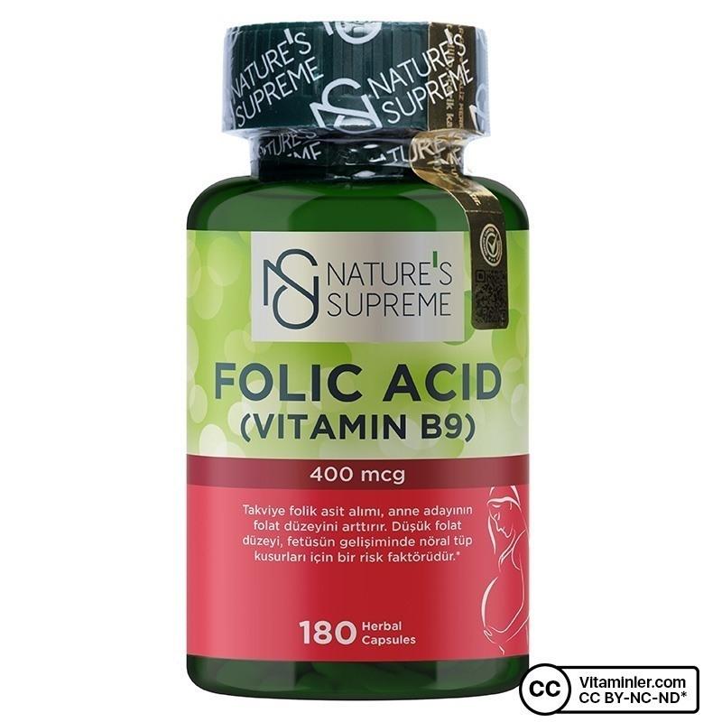 Nature's Supreme Folic Acid 400 Mcg 180 Kapsül
