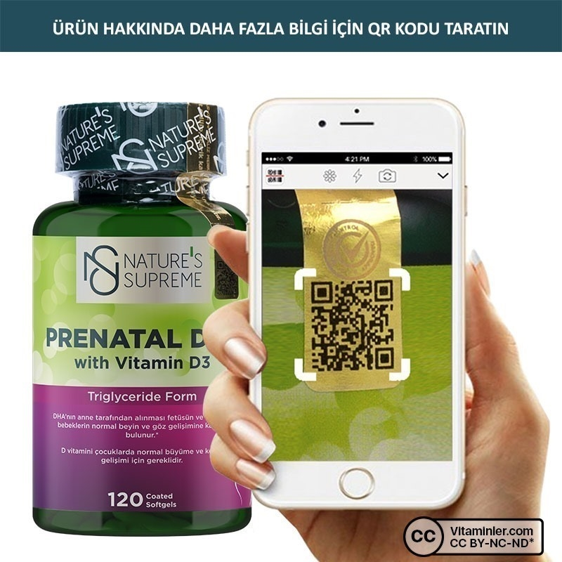 Nature's Supreme Prenatal DHA with Vitamin D3 1000 Mg 120 Kapsül