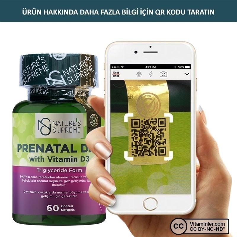 Nature's Supreme Prenatal DHA with Vitamin D3 1000 Mg 60 Kapsül