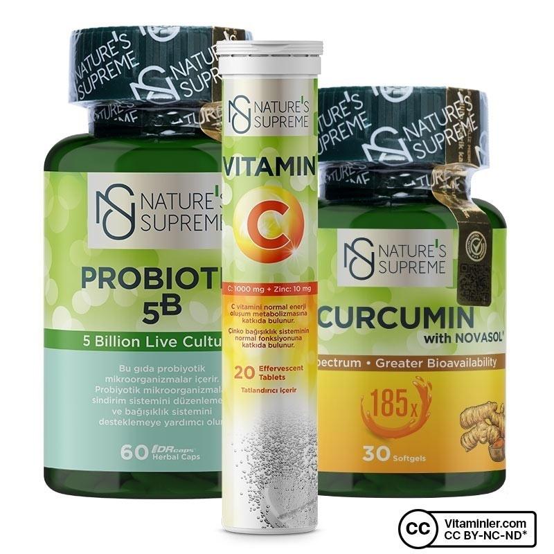 Nature's Supreme Vitamin C + Probiyotik + Curcumin Kombinasyonu