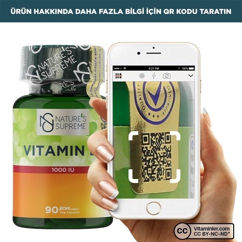 Nature's Supreme Vitamin D3 1000 IU 90 Kapsül