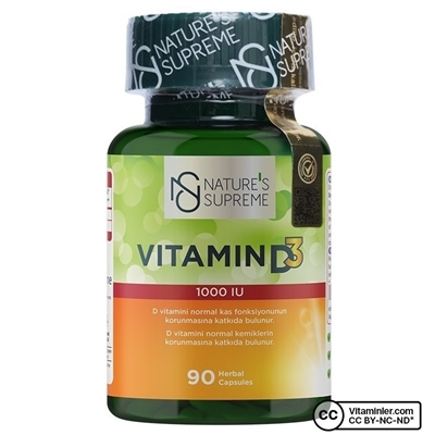 Nature\'s Supreme Vitamin D3 1000 IU 90 Kapsül