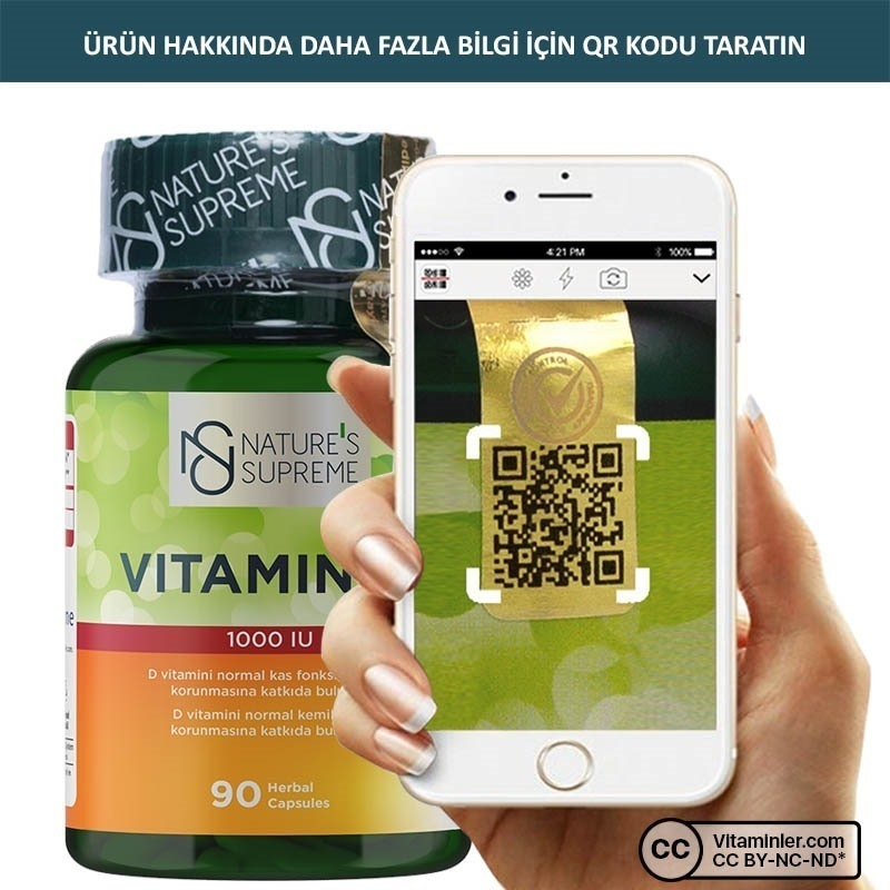 Nature's Supreme Vitamin D3 1000 IU 90 Kapsül