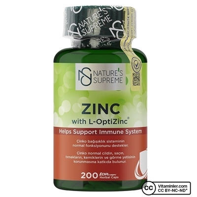Nature\'s Supreme Zinc 15 Mg 200 Kapsül