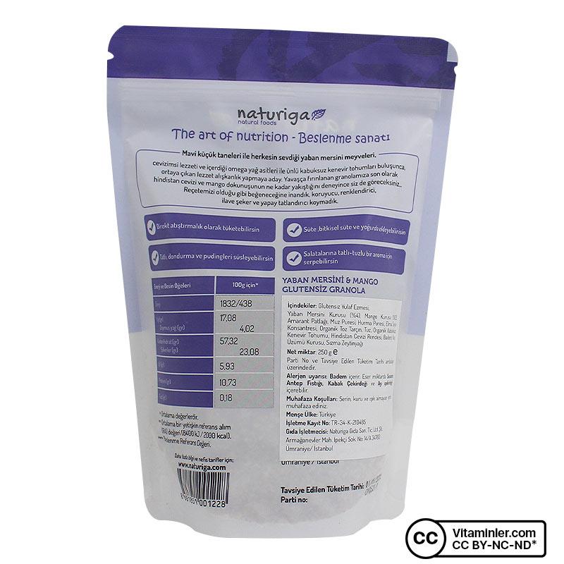 Naturiga Glutensiz Granola Yaban Mersini 250 Gr