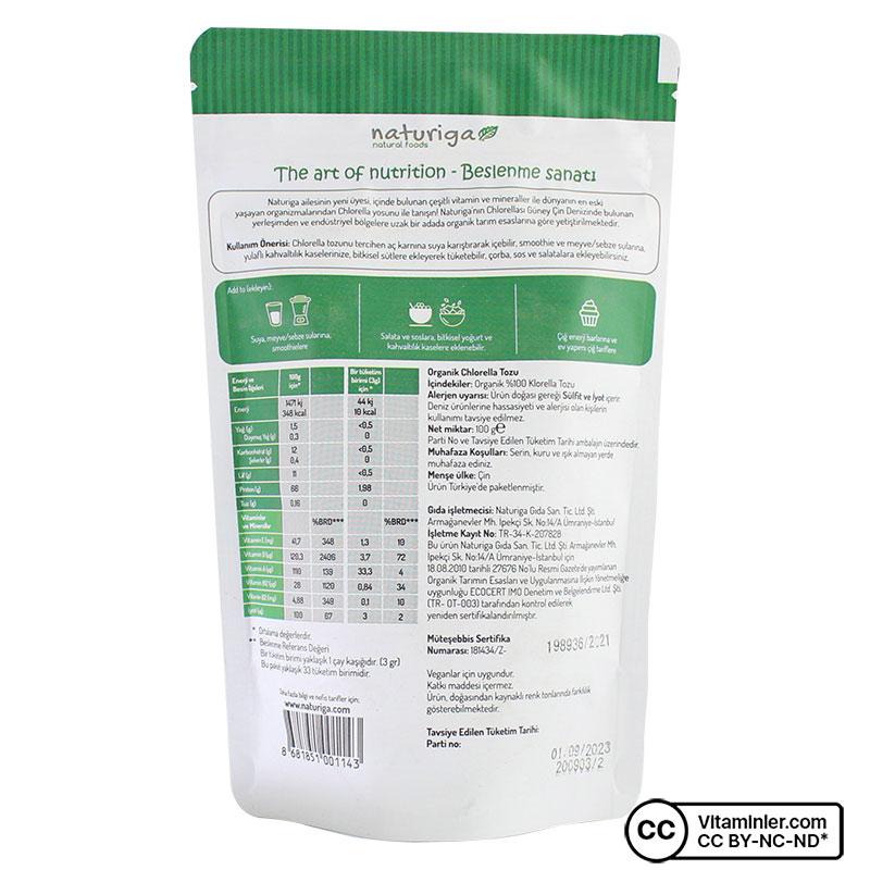 Naturiga Organik Chlorella Tozu 100 Gr