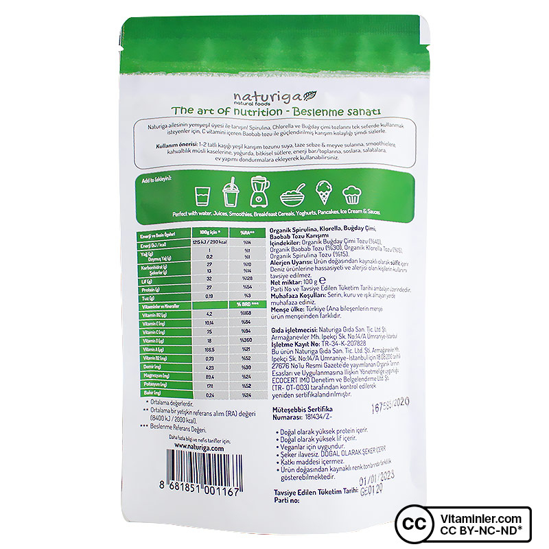 Naturiga Organik Yeşil Karışım 100 Gr