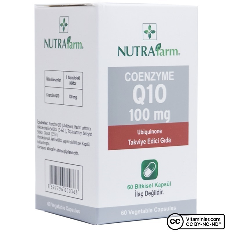 Nutrafarm Coenzyme Q10 100 Mg Ubiquinone 60 Kapsül