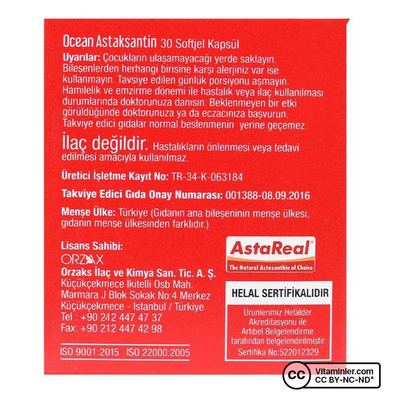 Ocean Astaksantin Doğal Antioksidan 30 Kapsül
