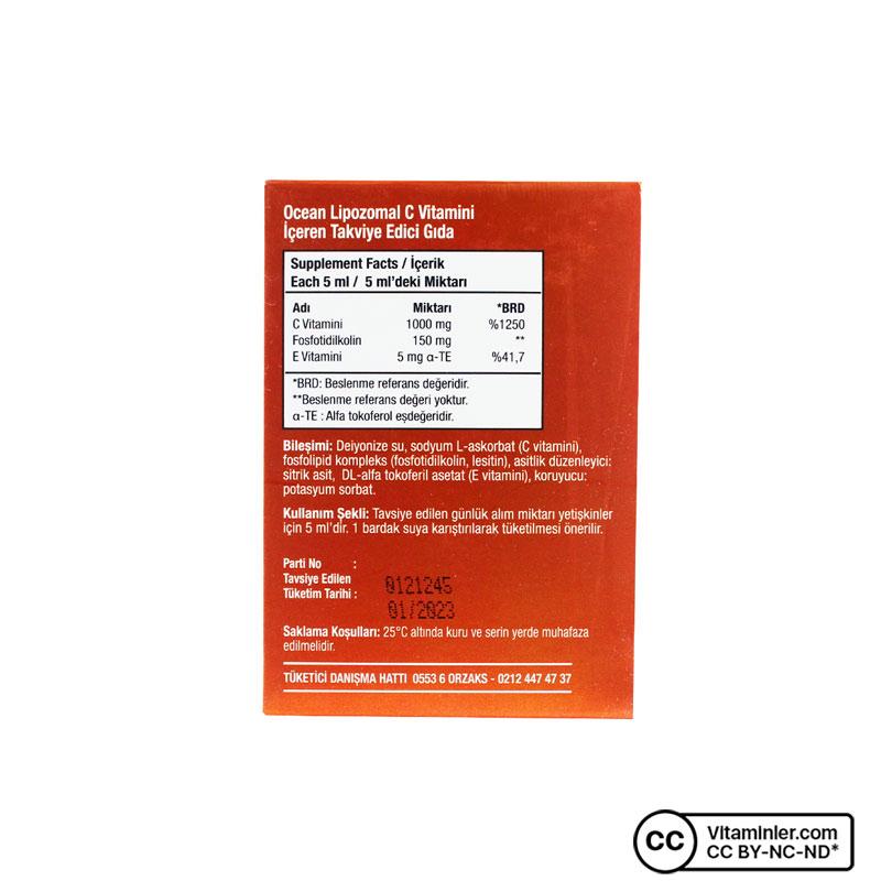 Ocean Lipozomal C Vitamini 1000 Mg 20 Flakon