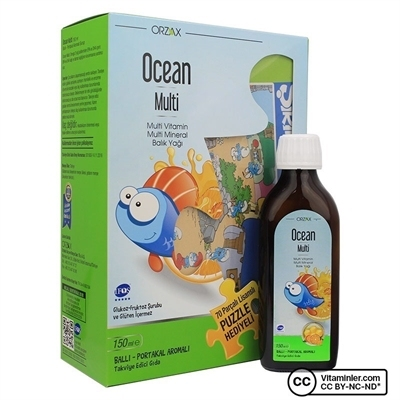 Orzax Ocean Multi Vitamin ve Balık Yağı 150 mL + Puzzle Hediyeli