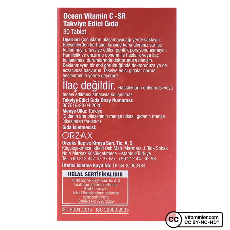 Ocean Vitamin C-SR 500 Mg 30 Tablet