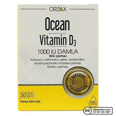 Ocean Vitamin D3 1000 Iu Damla 50 Ml Ocean D Vitaminleri