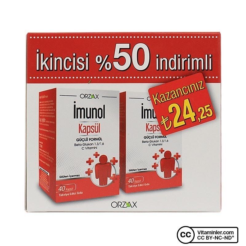 Orzax Imunol Beta Glukan 40 Kapsül 2'li Paket