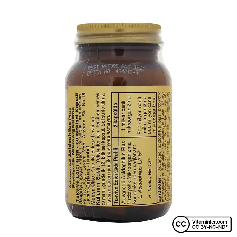 Solgar Advanced Acidophilus Plus 60 Kapsül