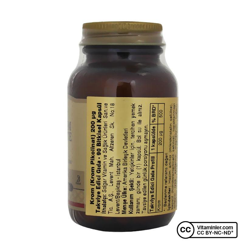 Solgar Chromium Picolinate 200 Mcg 90 Kapsül