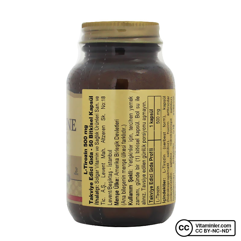 Solgar L-Tyrosine 500 Mg 50 Kapsül