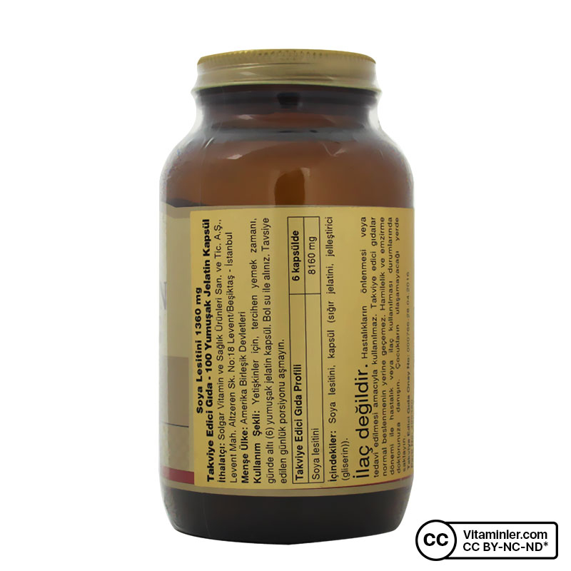 Solgar Lecithin 1360 Mg 100 Kapsül