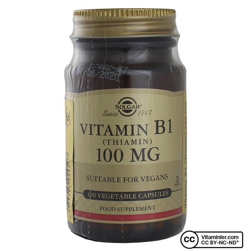 Solgar Vitamin B1 (Thiamin) 100 Mg 100 Kapsül