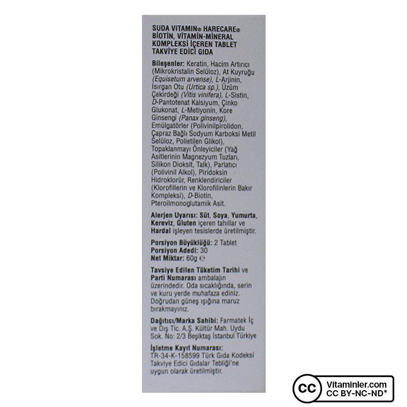 Suda Vitamin Harecare 60 Tablet
