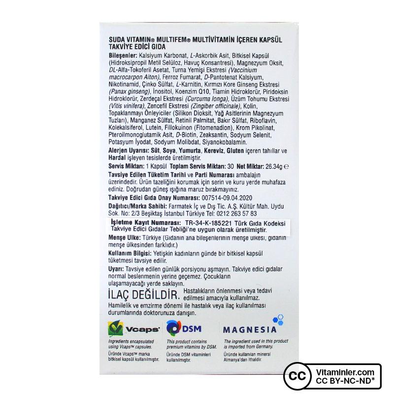 Suda Vitamin Multifem Multivitamin 30 Kapsül
