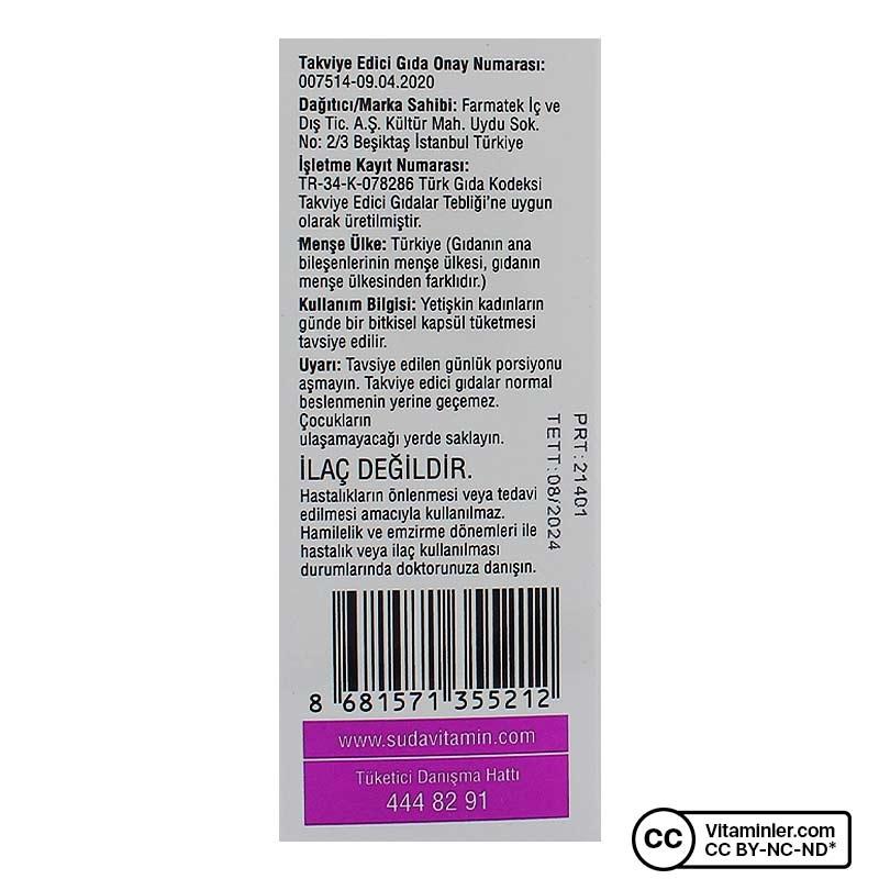 Suda Vitamin Multifem Multivitamin 60 Kapsül