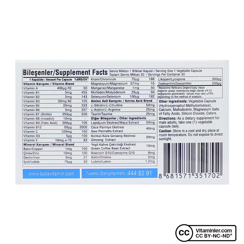 Suda Vitamin Multimen Multivitamin 30 Kapsül