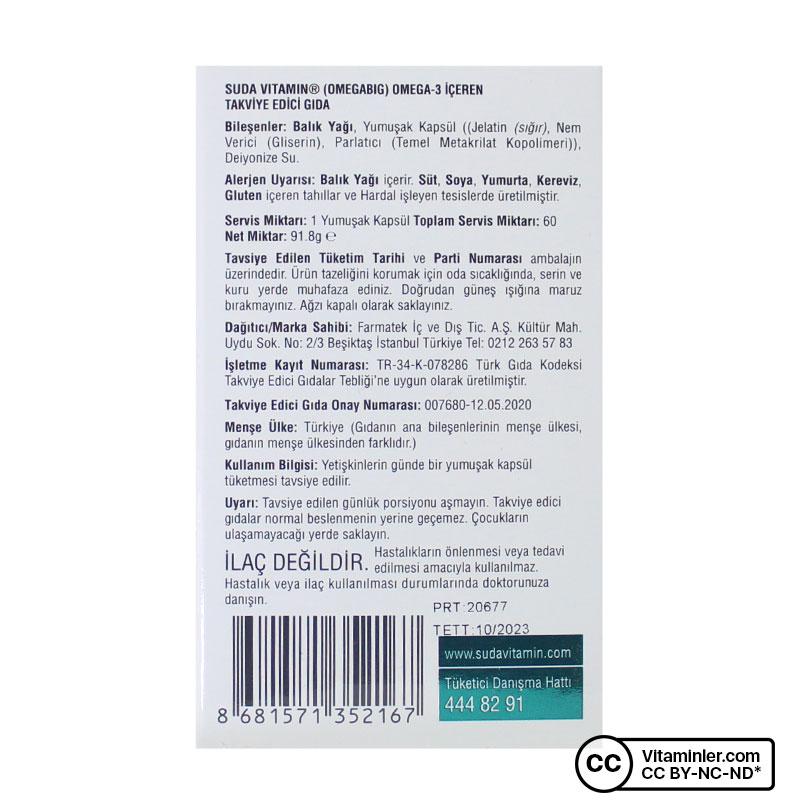 Suda Vitamin Omegabig Balık Yağı 60 Kapsül