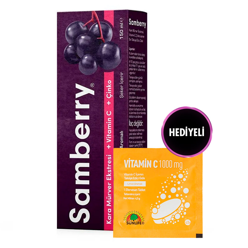 Sunlife Samberry Şurup 150 mL + Vitamin C 1000 Mg 5 Tablet Hediye