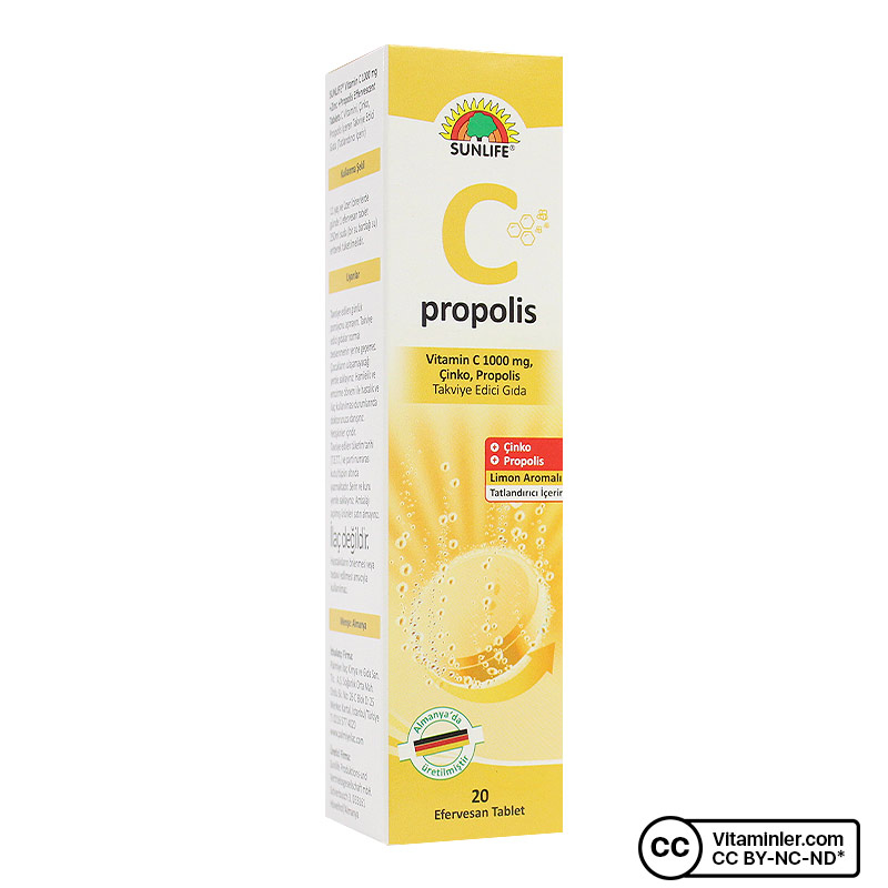 Sunlife Vitamin C, Çinko ve Propolis 20 Efervesan Tablet