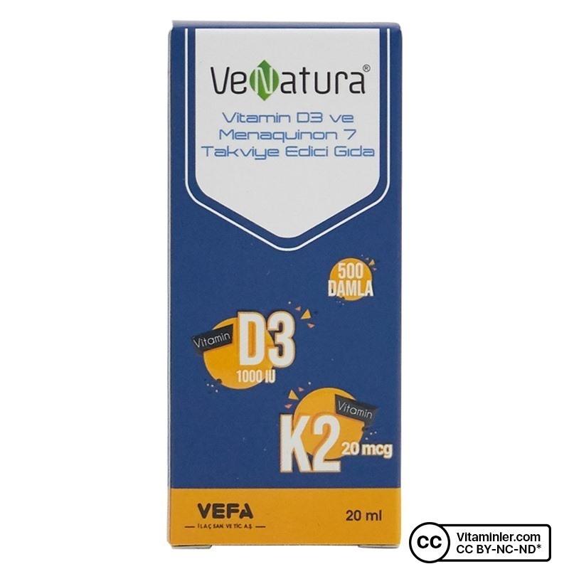 Venatura Vitamin D3 K2 (Menakuinon 7) Damla 20 mL