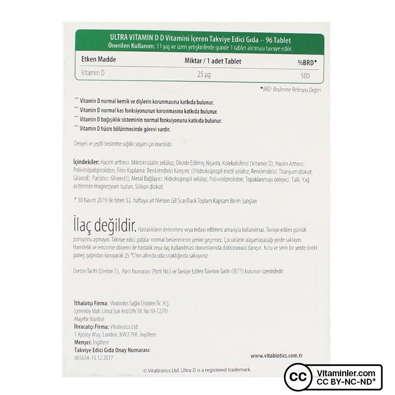 Vitabiotics Ultra Vitamin D3 1000 IU 96 Tablet