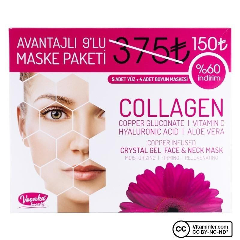 Voonka Crystal Gel Face & Neck Mask Avantajlı 9'lu Maske Paketi