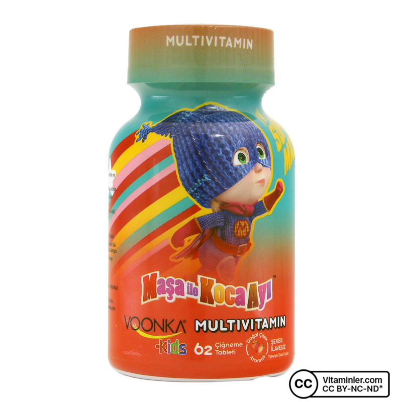 Voonka Kids Maşa ile Koca Ayı Multivitamin 62 Çiğneme Tableti