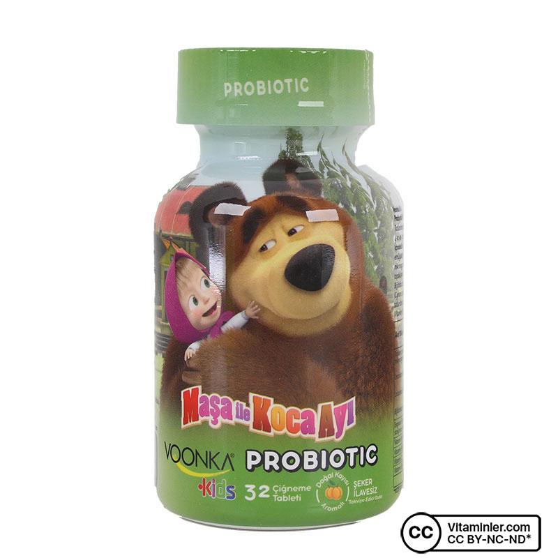 Voonka Kids Maşa ile Koca Ayı Probiyotik 32 Çiğneme Tableti