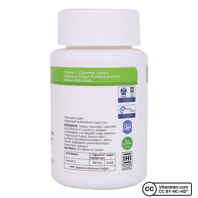 Voonka Vitamin C 500 Mg 62 Çiğneme Tableti