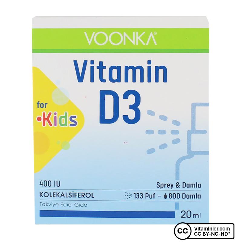Voonka Vitamin D3 For Kids 400 IU Sprey & Damla 20 mL
