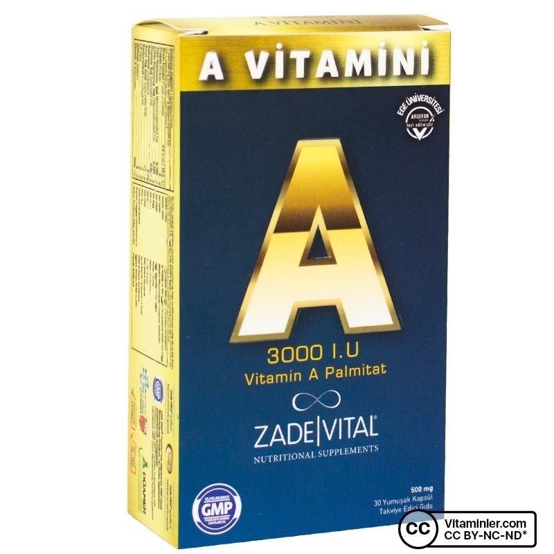 Zade Vital A Vitamini 3000 IU 30 Kapsül