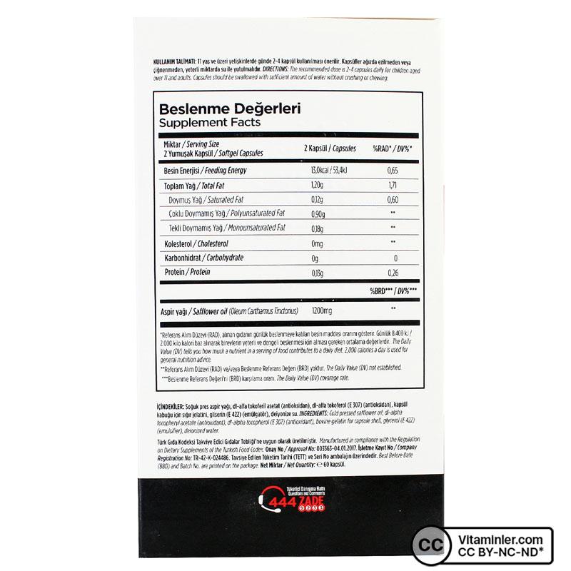Zade Vital Aspir Yağı 600 Mg 60 Kapsül