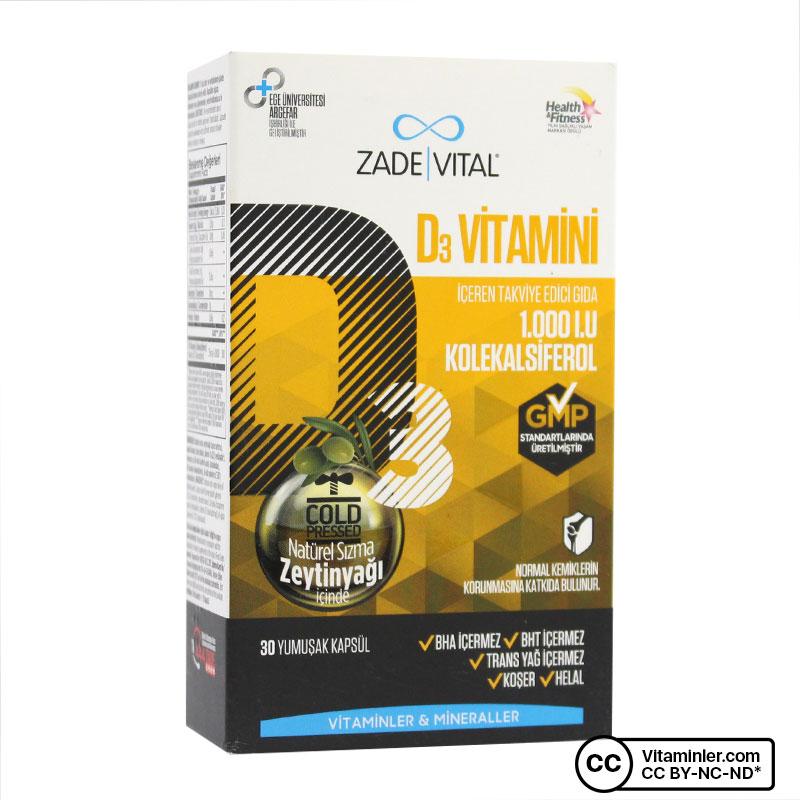 Zade Vital D3 Vitamini 1000 IU 30 Kapsül